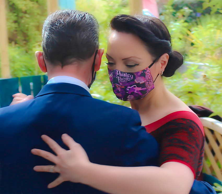tango dancers from Paisley Tango (dancing club) wore my special Paisley Tango face masks