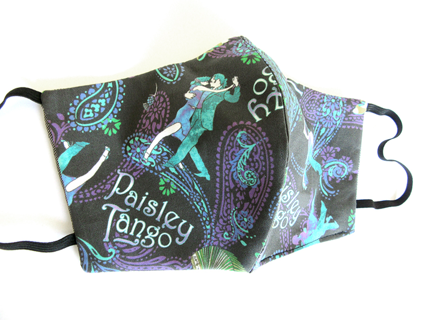 Paisley Tango (peacock colors) face mask designed by Patrick Moriarty