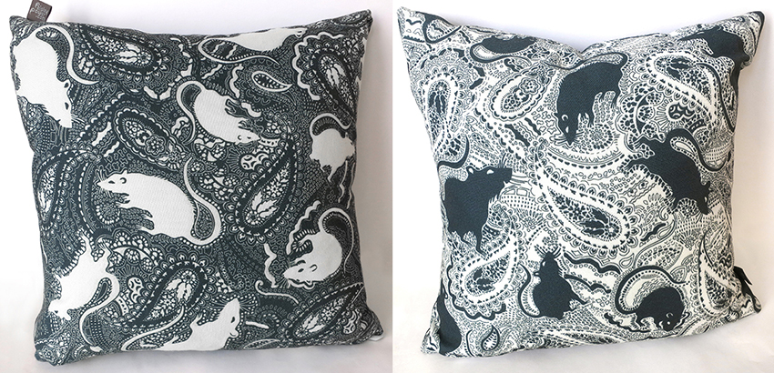 contrasting Paisley Rats cushions (black/white and white/black)
