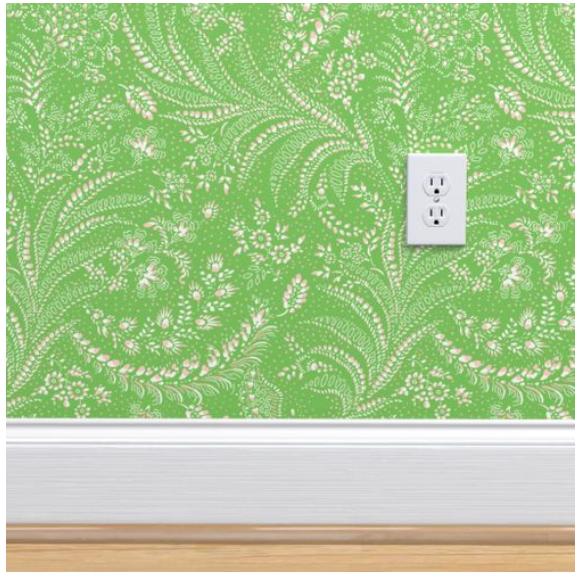 Fern Botanical (green version) wallpaper on the wall