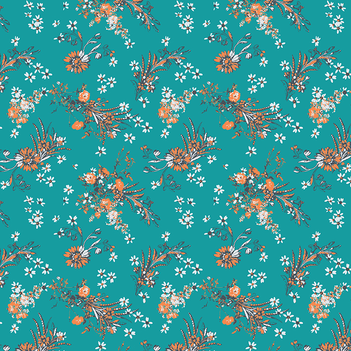 """A Patrick Moriarty design,  """"flowers and bouquets"""" (orange white teal version)"""