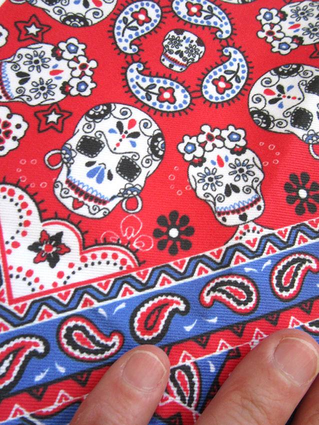 Skull Bandana Mexican red blue version textile design by patrick moriarty