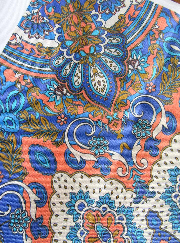 Paisley Kaleidoscope (blue peach version) printed on cotton