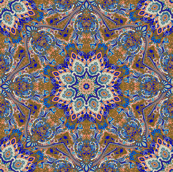 Paisley Kaleidoscope (blue peach version) designed by Patrick moriarty