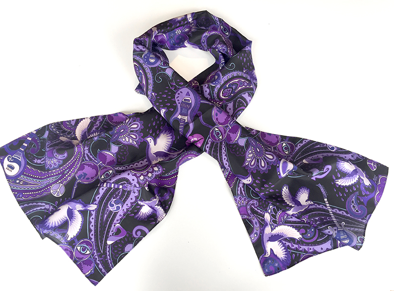 Paisley Prince Songbook silk scarf designed by Patrick Moriarty.
