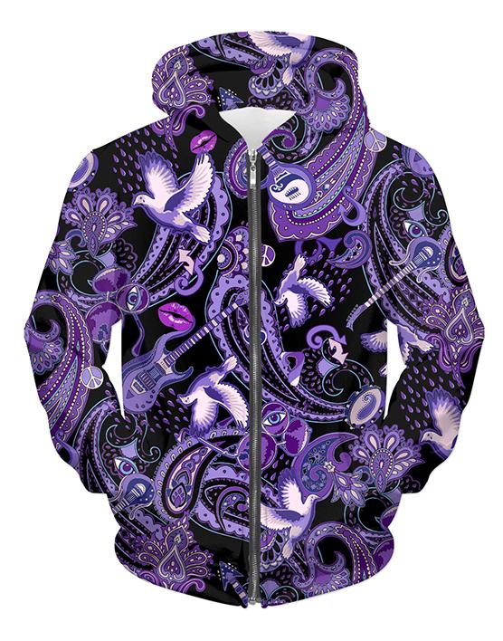 Paisley Prince Songbook zipper hoodie