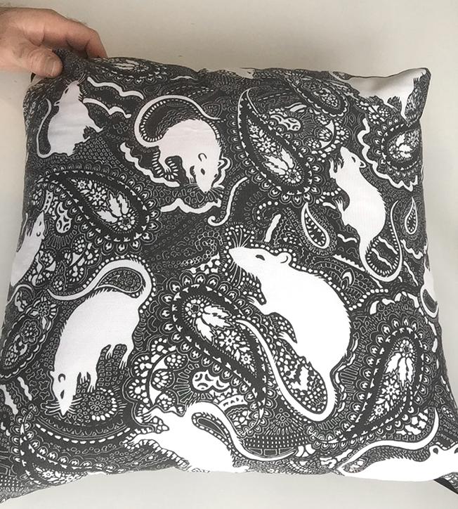 Paisley Rats cushion designed by Patrick Moriarty