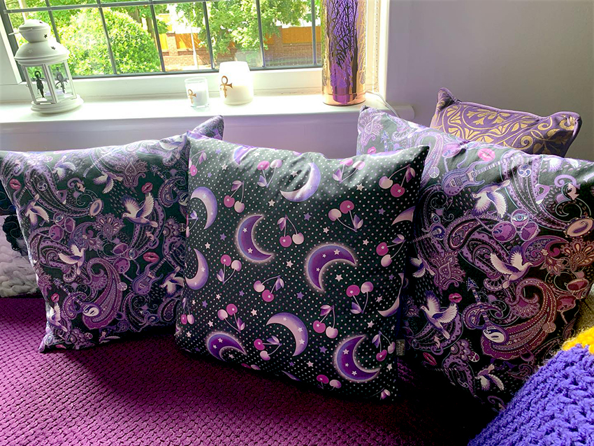 Jeannie Gilding's Prince room with 3 Prince-themed cushions designed by Patrick Moriarty
