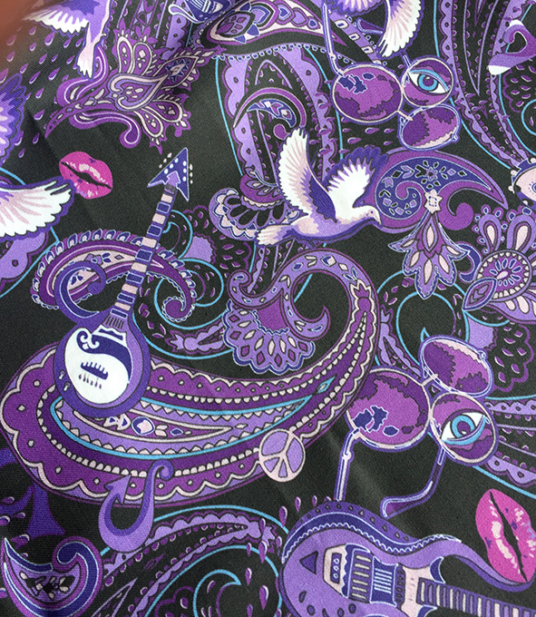 Prince-themed design printed on cotton. Designed by Patrick Moriarty in Southend-on-Sea UK