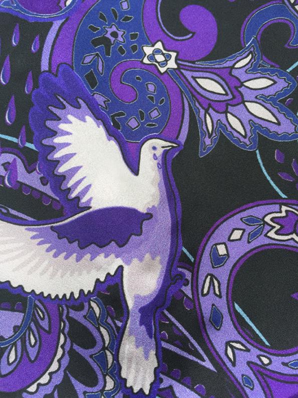 white dove and purple rain paisley-pattern silk