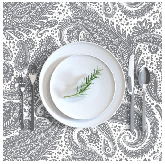 """""""Paisley Positivity"""" tablecloth (large dark grey version of the printed design)"""