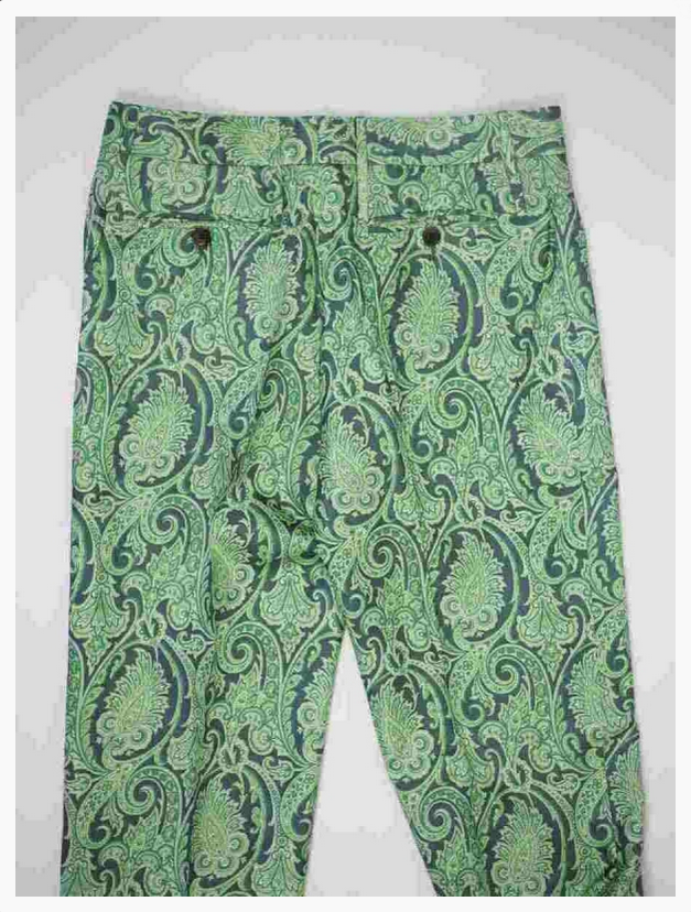 emerald green paisley trousers from the Dolce & Gabbana read-to-wear collection of the year 2000