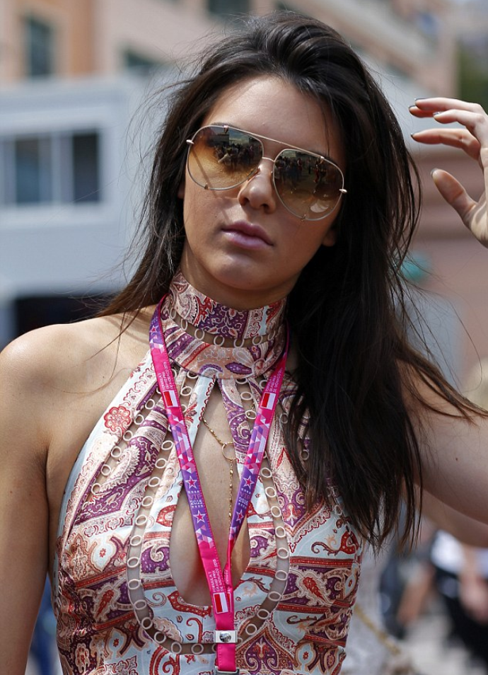 Kendall Jenner wearing a paisley patterned jumpsuit in Monaco.