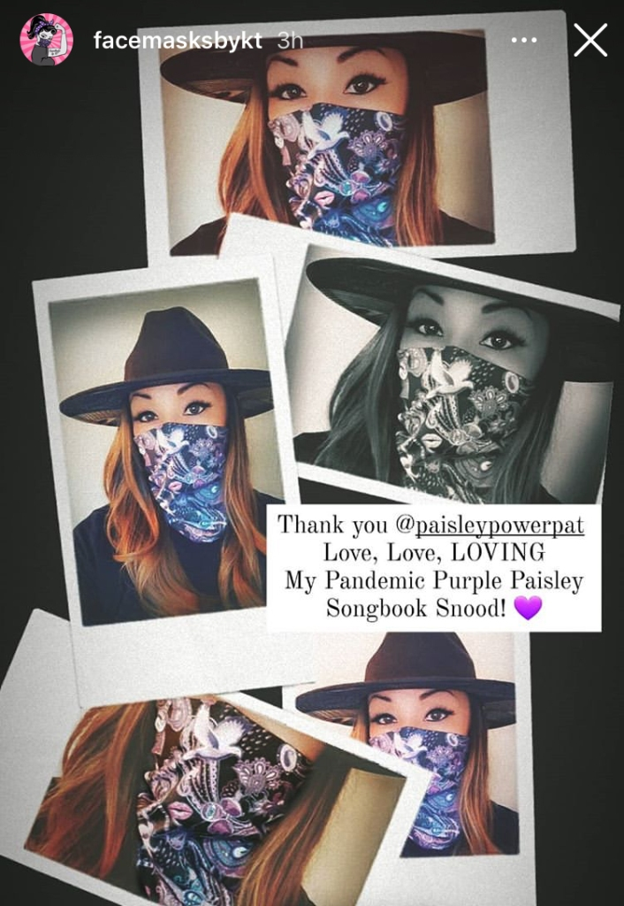 """Kimberly wearing a face-covering snood, which is made with the """"Paisley Prince Songbook"""" fabric."""