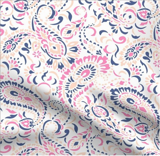 Paisley Africa design (large rose pink blue version) by paisleypower.