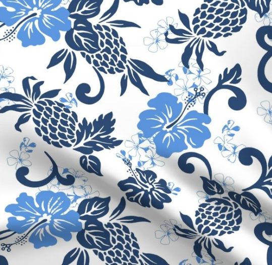 Pineapple Hibiscus Tropical design (large indigo sky-blue and white version) by paisleypower.
