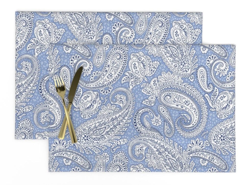 Paisley Positivity design (light azure blue version) printed placemats