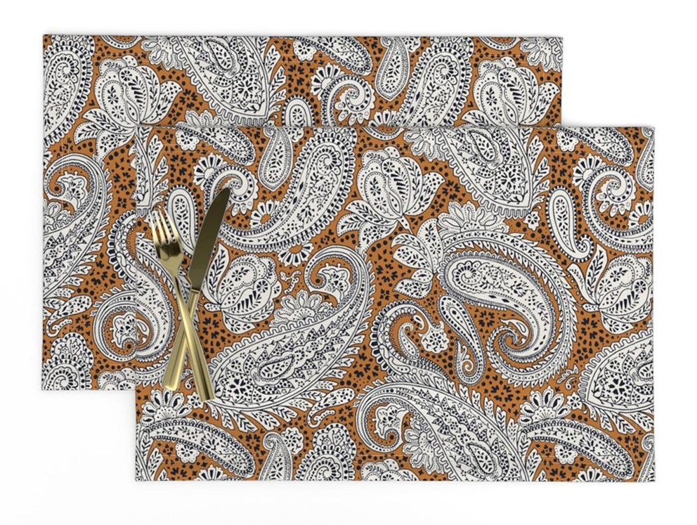 Paisley Positivity (golden brown version) placemats for the dining room