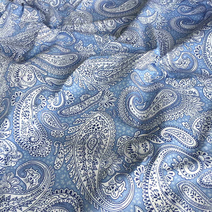 Paisley Positivity (small light blue white version) printed on cotton, created by Patrick Moriarty in January 2020.