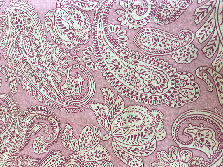 Paisley Positivity (small lilac tones version) printed fabric. Designed by Patrick Moriarty.