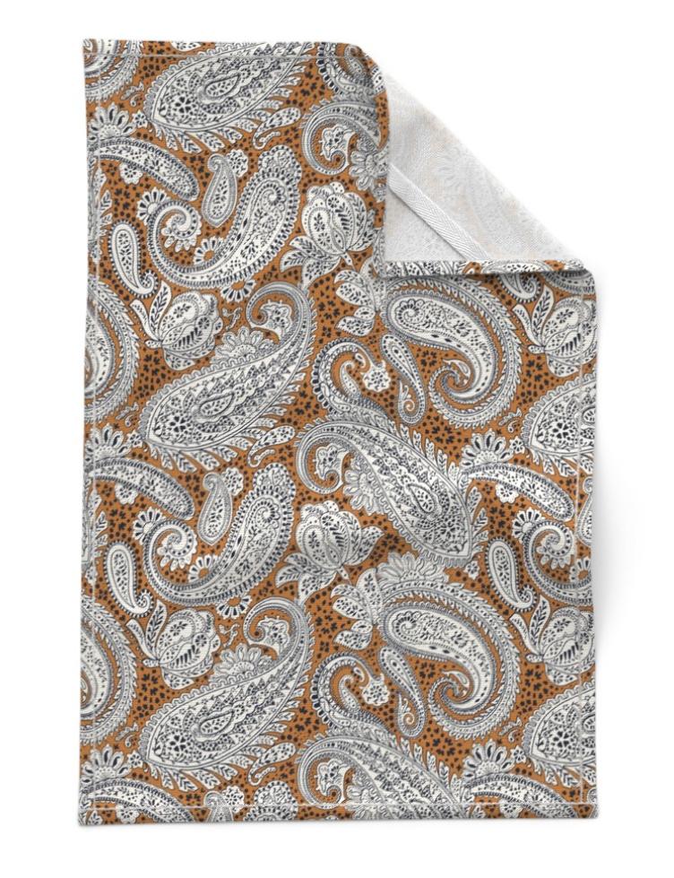 paisley positivity tea towel (golden brown version)