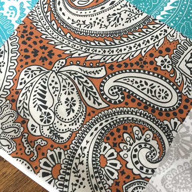 paisley positivity textile design small golden brown version. Designed by Patrick Moriarty in January 2020