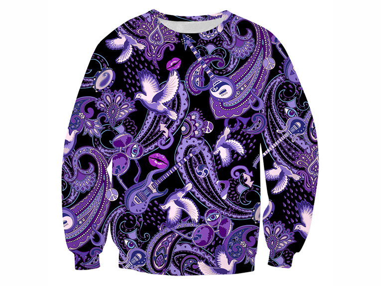 Paisley Prince Songbook sweatshirt with unique paisley pattern by Patrick Moriarty