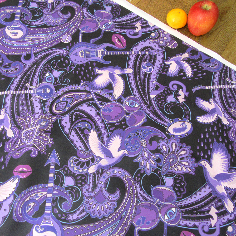Prince-themed purple cotton fabric from available from the Paisley Power design collection