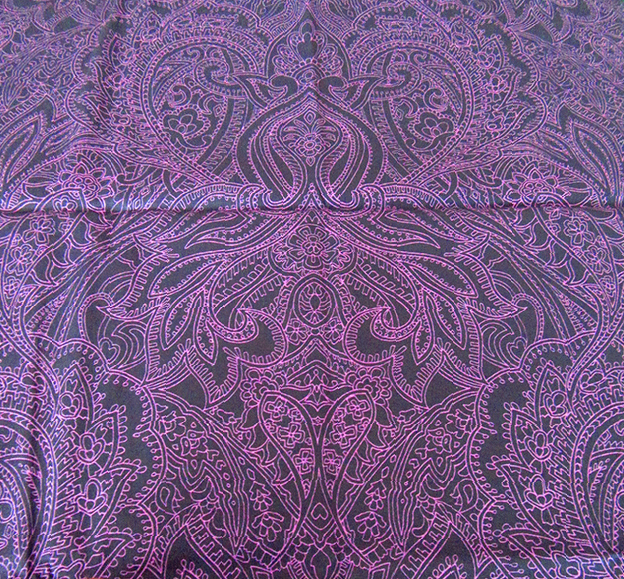 Purple Prince Paisley design printed on cotton. Designed by Patrick Moriarty