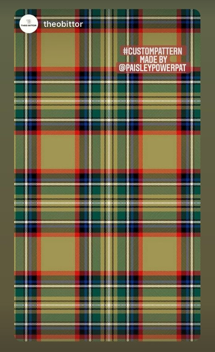 unique tartan pattern (olive version) created by Patrick Moriarty for Theo Bittor