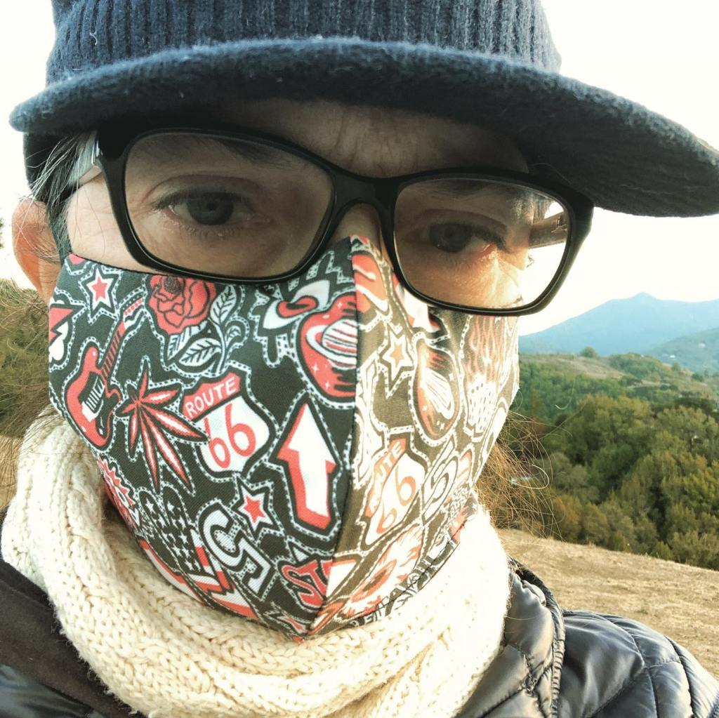 """jacqui arnot in california wearing """"Sew-on Patches USA"""" face mask designed by patrick moriarty"""