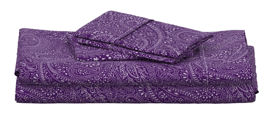 Folded duvet cover and pillowcases. They are printed with the Paisley Positivity design (large-scale aubergine version)