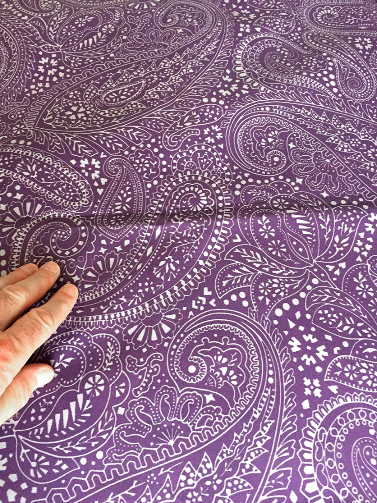 Paisley Positivity design (the large-scale aubergine version) printed on cotton