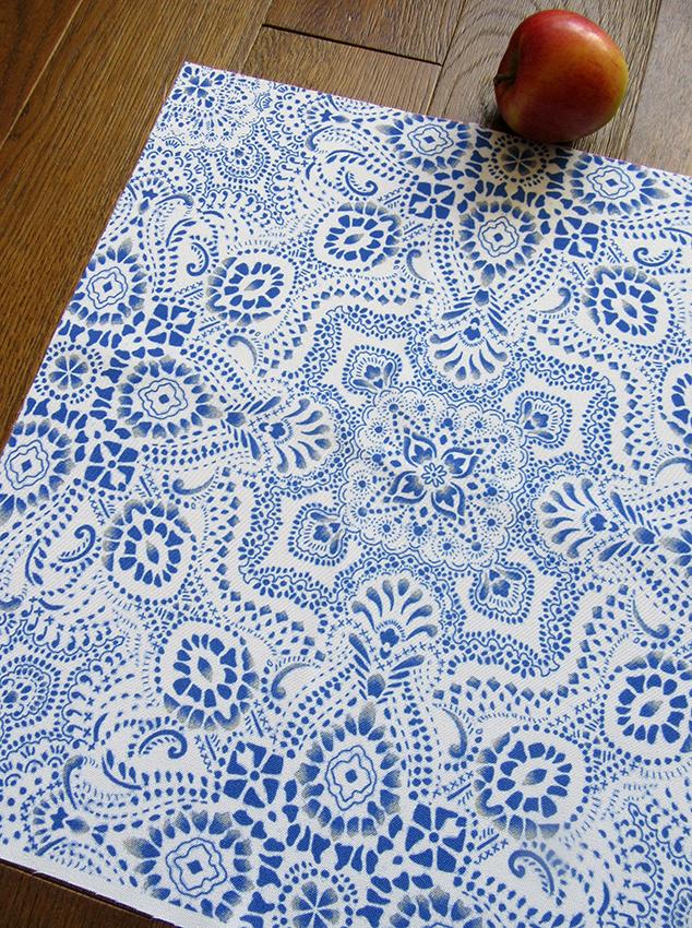 """""""Mosaic Bandana"""" fabric (white and blue version)"""