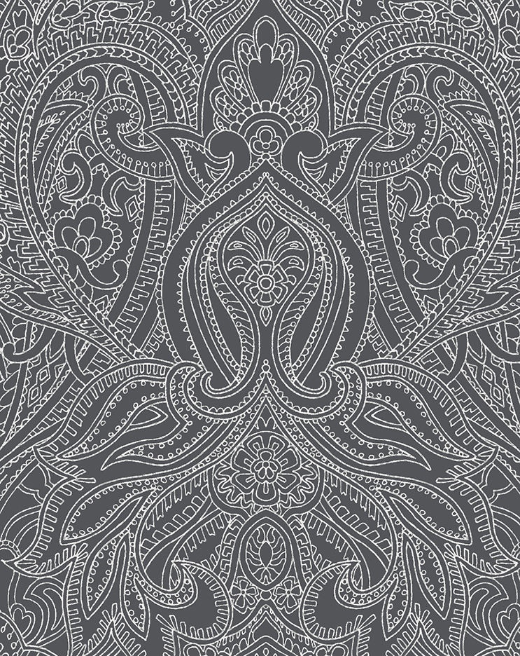 dark grey version of the Paisley Lace Outline design