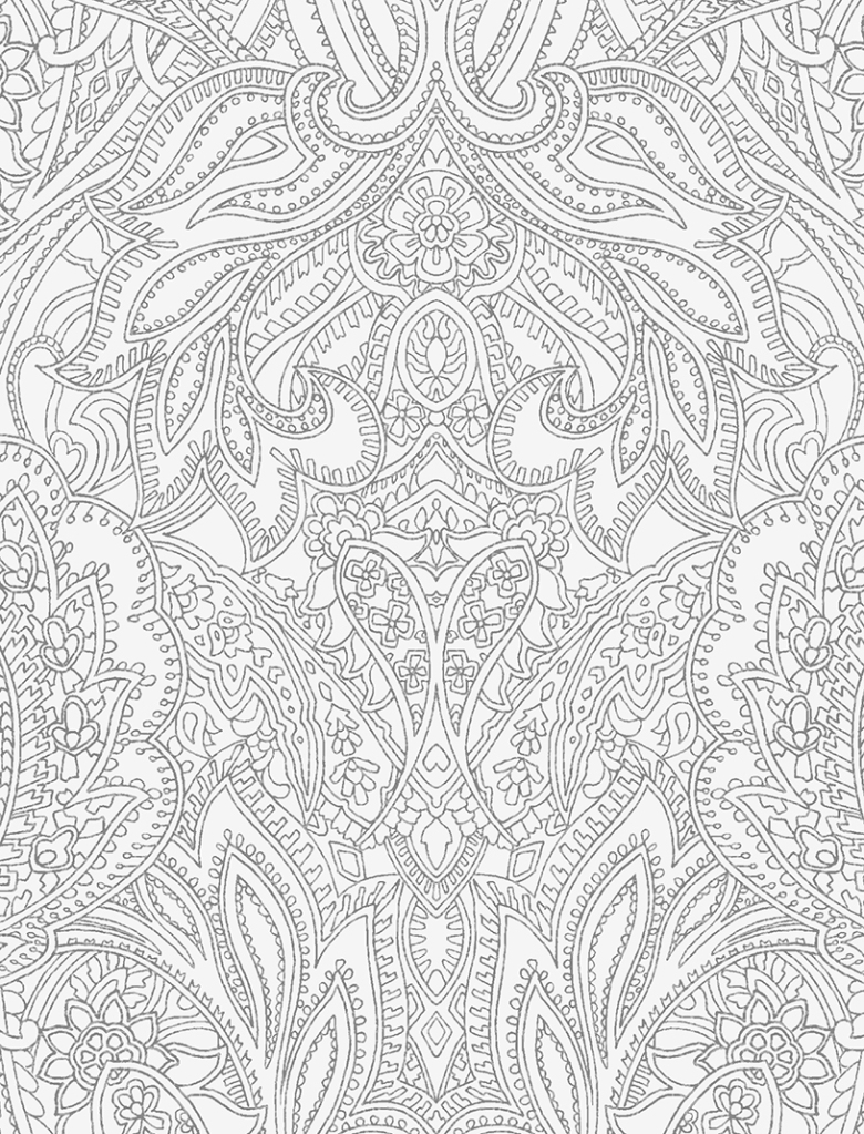 Enlarged image of Paisley Lace Outline design (pastel-grey and mid-grey version) by Patrick Moriarty