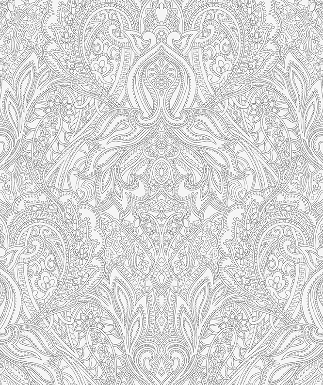 Paisley Lace Outline design (pastel-grey and mid-grey version)