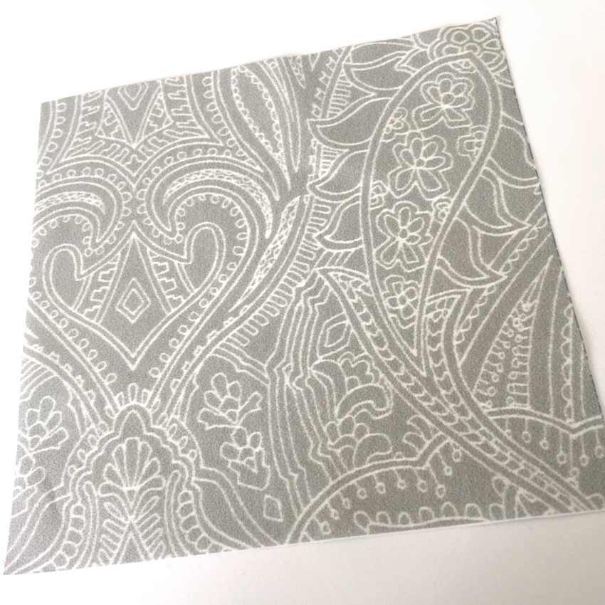 Paisley Lace Outline design (mid-grey version) printed on cotton