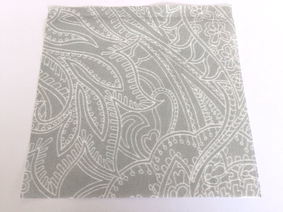 light grey version of Paisley Lace Outline printed on cotton