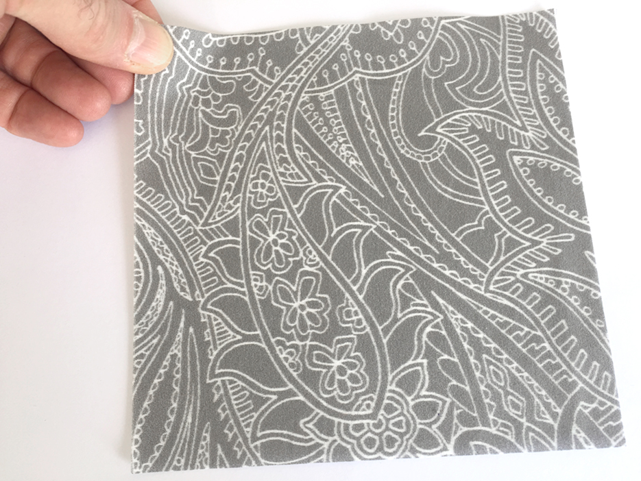 Here is a photo of the Paisley Lace Outline (Mid-grey and Dark-Grey version) printed on cotton.