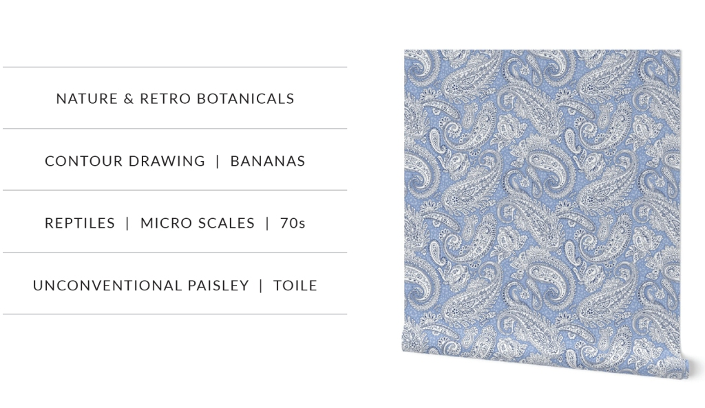 the Trends page of the Spoonflower magazine featuring the Paisley Positivity design wallpaper, designed by Patrick Moriarty
