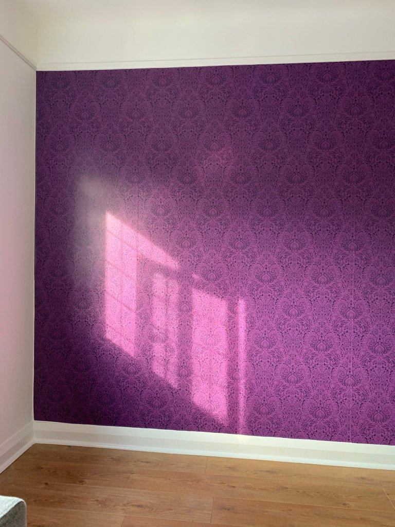 Jeannie Gilding's Prince-themed room with Purple Prince Paisley wallpaper designed by patrick moriarty