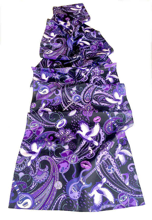 """""""Paisley Prince Songbook"""" silk scarf designed by Patrick Moriarty. The design has a Prince theme."""