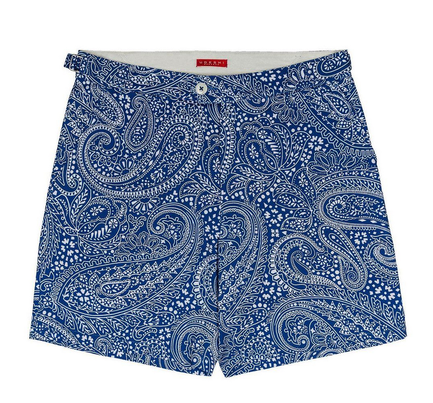 a pair of Udeshi shorts made with the Paisley Positivity fabric